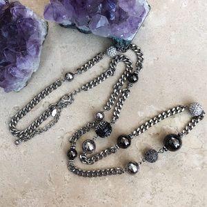 Chico's Long Silver Black & Rhinestone Necklace